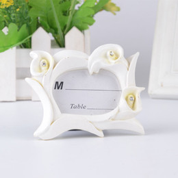 Wholesale Frames Wedding Favors - Romantic Decoration Mini Calla Lily Design Photo Frame Place Card Holder For Wedding Party Favors ZA5062