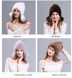 Wholesale Ladies Mink Hats - 24pcs Autumn and winter warm winter mink hat three ball cap hat knitted fur Earmuffs Ear cap painted lady
