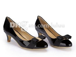 Wholesale Low Heel Patent Leather Pumps - 2016 New Spring And Autumn Womens Round Toe Patent leather Womens High Heels brand fashion women designer sexy Office & Career women's pumps