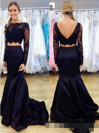 Wholesale Dresse Party - Navy Blue Mermaid Two Piece Prom Dresse With Long Sleeves Sexy Open Back Teens Formal Evening Wear Party Gowns Lace Satin Dress