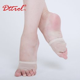 Wholesale Professional Belly Dance Shoes - Wholesale-Four Holes Professional Belly Toe Pad Modern Half Lyrical Dance Shoes Sandals mesh Paws Dance Foot Thongs 17000