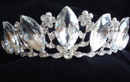 Wholesale Silver Plated Olive Branch - Olive Branch Crystal Crown Wedding Bridal Tiaras Party Hair Accessories In Stock 2016 Discount Style Children's Day