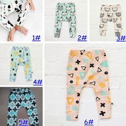 Wholesale Low Waist Cotton Leggings - 6 Design kids INS pp pants fashion baby toddlers boy's girl's animal fox tent wheels geometric figure pants trousers Leggings