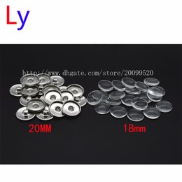 Wholesale Easter Cabochons - Custom jewelry Snap Button Making Brass Snap Buttons with Clear Glass Cabochons, Platinum, Clear, Button: 20mm(Add freedom print photos)