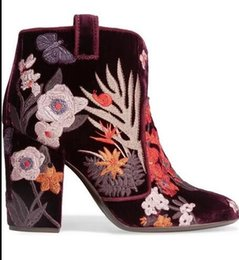 Wholesale National Wind Shoes - New winter high-heeled boots national wind flowers butterfly snail embroidered fashion shoes woman slip-on booties Martin boots snow boots