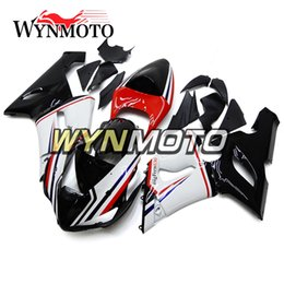 Wholesale Zx6r White Red - Red White Black Fairings for Kawasaki ZX-6R ZX6R 05 06 2005 2006 ABS Plastics Injection Plasrics Motorcycle Fairing Kit Carenes Body Kit