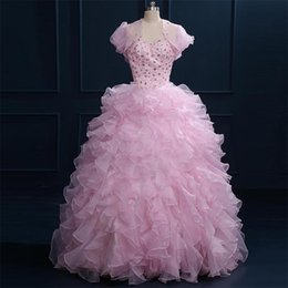 Wholesale Winter Jackets For Girls Image - Real Image Ball Gown Prom Dresses For 16 Years Girls Quinceanera Dresses Pink Dress with Bolero Jacket Ruffles Beads Crystals