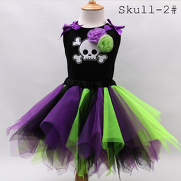 Wholesale Skull Tutu Set - 2016 Kids Halloween Suit Girl autumn summer pumpkin skull set Girls Black Sleeveless T-Shirts Tutu Skirts 2pc sets for Special Occasions