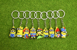 Wholesale Minion Led - 3D Cartoon Minions Toy Key Ring Despicable Me Mini Minion Keychains Doll Kids Toys LED Light Voice Keyring Men Trinkets Charms