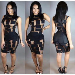 Wholesale Adults Night Dresses - 2016 Sexy Women sleeveless Bandage Bodycon Mesh Club Party Cocktail Mini Dress Brand New Good Quality Free Shipping