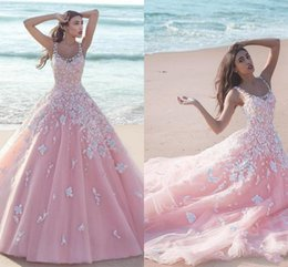 Wholesale Tulle Flower Petals - 2016 New Pink Quinceanera Ball Gown Dresses Scoop Neck Tulle With Flowers White Lace Appliques Long Sweet 16 Sweep Train Party Prom Gowns