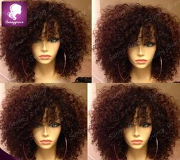 Wholesale Curly Lace Wigs Bangs - African American short curly Human Hair wig afro curly glueless full lace wigs with bangs Brazilian kinky curly lace wig for black women