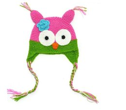 Wholesale Owl Hats For Kids - kids handmade cotton knitted hats yarn crochet hats in owl design with multi color 10pcs lot for new born 0-3T
