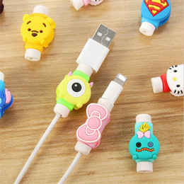 Wholesale Earphone Cute Cartoon - Cute Cartoon USB Data Charger Cable Saver USB Charger Charging Cable Earphone Wire Cord Protector Universal For iPhone 7 iPad iPod Samsung