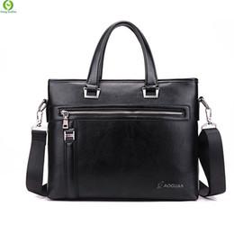 Wholesale Lawyers Briefcase - Wholesale-men briefcase leather black brown business bag 14'' laptop computer bag men's messenger bags Vintage lawyer handbag