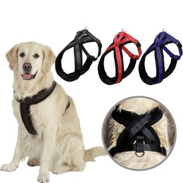 Wholesale Hot Dog Fleece - Hot Sale Dog Collar Harness Pet Supplies Thicken Fleece Soft Nylon Cloth Profession Out Walking Harness Black Blue Red Colors 4 Sizes