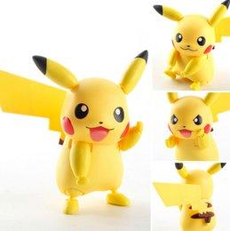 Wholesale Pikachu Ornament - 10cm Poke Cute Cartoon SHF Pikachu PVC Ornaments Anime GK Pikachu Doll Toys Kids Xmas Gift