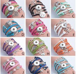 Wholesale Infinity Love Ring - 12 Style Fashion Leather Infinity Noosa Snap Button Charm Multilayer Bracelet Ginger Snaps Statement Jewelry