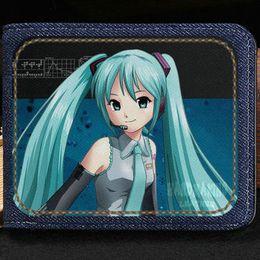 Wholesale Miku Dress - Hatsune Miku wallet Singer girl purse Virtual cartoon short cash note case Money notecase Leather burse bag Card holders
