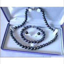 Wholesale Earring Gold Chain - 2016 new hot sell 9-10mm SOUTH SEA AAA Black Pearl Necklace Bracelet Earring Set