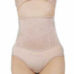 Wholesale Tall Waist Panties - Wholesale- High Quality Shapers Breathable Tall Waist Thin Slimming Soft Fiber Toning Girdles Women Shaper Shaping Cincher Underbust N005