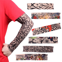 Wholesale Tattoo Sun Sleeves - Cycling Bike Bicycle Tattoo Arm Warmers Cuff Sleeve Cover UV Sun Protection Dropshi Sun UV Protection Armwarmer Stocking Stretchable Sleeves