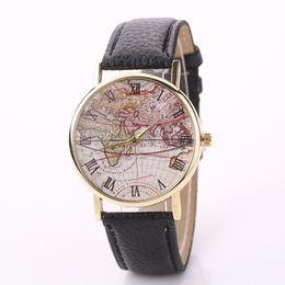 Wholesale Vintage Glass Patterns - 2016 New Fashion Design Men Women Vintage World Map Pattern Roman Dial Analog Leather Strap Quartz Watches Wristwatches