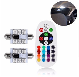 boulons de plaque d'immatriculation Promotion 2pcs RGB LED 41mm 5050 SMD 6 LED Ampoule DC12V Voiture Auto Lumières Lampe Festoon Super Bright Ampoules Puissance