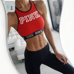 Wholesale Midriff Tops - Women Pink Letter Bra Running Sports midriff-baring Shirt Yoga Gym Vest Push Up Fitness Crop Tops for Big Grils Ladies Red Color