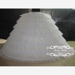 Wholesale dress underskirts - Super Big 2018 Tiered Puffy Ball Gown 6 Hoops Petticoats White Tulle Long Slip Crinoline Underskirts For Wedding Prom Quinceanera Dresses