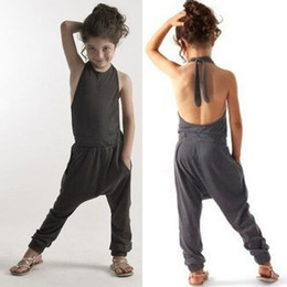 Wholesale Sling Pants - Girls Casual Sling Clothing Sets romper baby sexy backless jumpsuit cargo pants bodysuits kids clothing children Outfit rompers D075