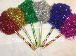 """Wholesale Cheer Horns - Free Shipping.PET Cheering pompom,70G Metallic Pom Pom with 30cm(12"""") handle,Cheerleading products,red,blue,green,silver,gold"""