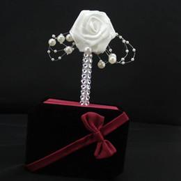 Deutschland 1 STÜCK Handgemachte Bräutigam Boutonniere Weißes Band Rose Hochzeit Bouquet Groomsmen Corsagen Party Prom Mann Anzug Zubehör Versorgung