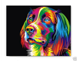 Wholesale Canvas Dog Art - Framed Bright-coloured dog,Pure Hand Painted modern Wall Decor Animal Art Oil Painting On High Quality Canvas,Multi Sizes Available moore20