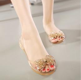 Wholesale Jelly Peep Toe Flats Black - Women Sandals Summer Style Bling Bowtie Fashion Peep Toe Jelly Shoes Sandal Flat Shoes Woman 2 Colors Size 36-40