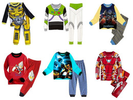 Wholesale Winter Set Design - New Kids pajamas boys sleepwear Iron Man children clothes 100% cotton children 9 designs pajamas for 1~7 years kids 6 sets l
