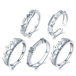 Wholesale Crown Rings For Girls - Top Grade Fashion Silver Band Ring Hot Sale CZ Diamond Crown Finger Rings for Woman Girl 5pcs set Silver Jewelry Wholesale 0354WH