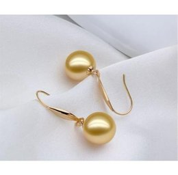 Wholesale Earrings South Sea Pearl Necklaces - AAA+++ 16MM SOUTH SEA GOLDEN SHELL PEARL EARRINGS 14K SOLID GOLD