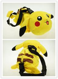Wholesale Pikachu Plush Backpack - Poke Plush bag Pikachu 3d plush cross body bag schoolbag Cartoon movie stuffed plus Messenger Bag for adult and kids childrens gifts EMSfree