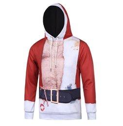 Wholesale Muscle Fake - Tide brand men 's coat - Creative men fake two pieces of Christmas muscle 3D printing hedging long sleeve hooded sweater