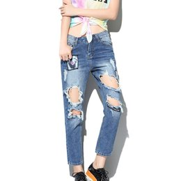Wholesale Women Baggy Jeans - Wholesale-2016 Boyfriend Baggy Ripped Jeans with Holes for Women Denim Harem Pants Pantalones Rotos Mujer Pantalon Jean Femme