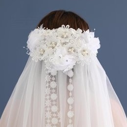 Wholesale Cheap Lace Yarn - Two Layers Tulle Short Bridal Veils 2017 Hot Sale Cheap Wedding Bridal Accessory Lace flower veil soft yarn Veils In Stock