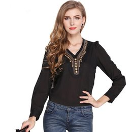 Wholesale Black Chiffon Top Long Sleeve - Women Chiffon Blouse 2017 New Fashion Spring Autumn Long Sleeve Solid White Black Party Club Work Casual Shirts Tops Tees