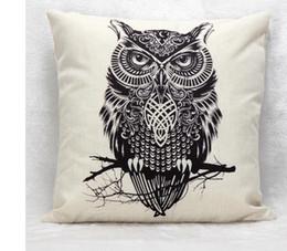 Wholesale Handmade Owls - 2016 New Arrive Simple Cotton Linen Cushion Pillow Home Decor 45cm*45cm Branch Owl Pattern