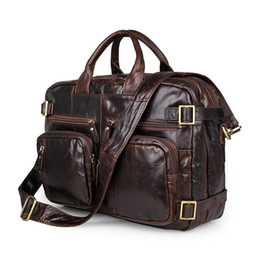 Wholesale Vintage Leather Briefcase Laptop - Men's Vintage Business Genuine Leather Bag Cowhide Handbags Men Messenger Bag Men's Travel Bags Laptop Briefcase Bag 7026