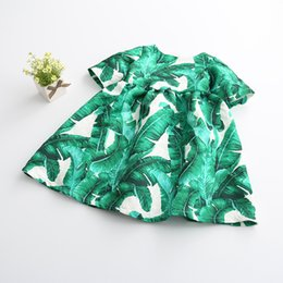 Wholesale Banana Boats - Banana leaf Floral Baby Girls Dresses Ruffles Princess Floral Girls Cute Half Sleeve Dresses Wholesale For 2-7T KD0007