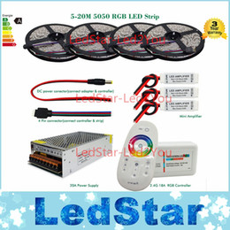 Wholesale 15m Remote - 5050 RGB led strip bande tape tiras 20m 15m 10m 5m full kit + 18A RF Remote controller + Power adapter + Amplifier