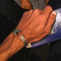 Wholesale Silver Jewellery For Men - Brand Design Tools Wrench Jewellery Biker Bangles Never Fade Steel Bracelet Punk Jewelry For Men Women Gift Drop Ship