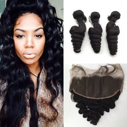 Wholesale Russian Curly Virgin Hair - Cambodian Loose Wave Human Hair With Frontals 4Pcs Lot Loose Curly Lace Frontal Closure 13x6 With Weaves Bundles