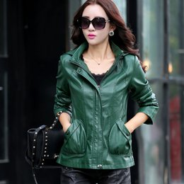 Wholesale Moto Jacket Women Fashion - Wholesale- Genuine Leather Fashion Hat Womens Jackets Spring Moto Slim Street Wear Bomber Jacket New Leisure Women Basic Coats